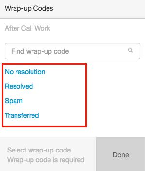 Select wrap-up codes