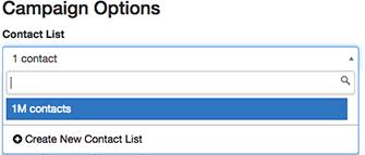 図は、 キャンペーン割り当てられた連絡先リストを変更するために使用されるピッカーを示していキャンペーン 。