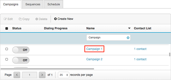 Figure shows where to click to open a campaign for editing.