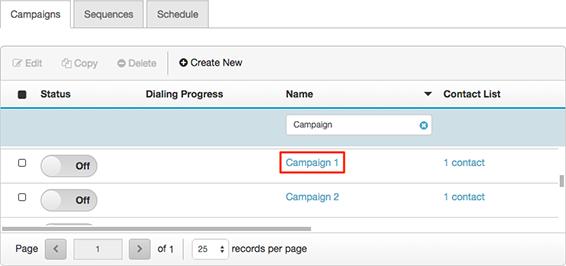 図は、編集するキャンペーンをクリックして開く場所を示しています。