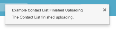 Figure shows popover that appears when a list the upload ends.