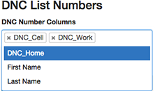 Figure shows how to select phone number columns from a  list of columns in a csv file.