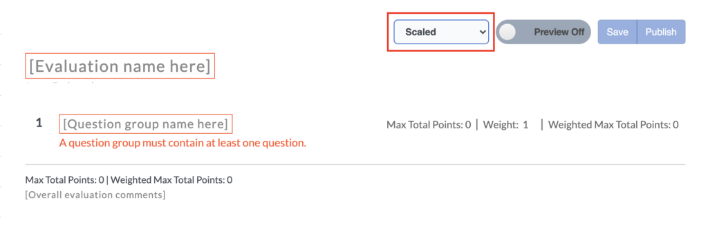 Enable question group weights.