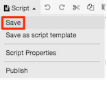 Figure shows menu command for saving a script