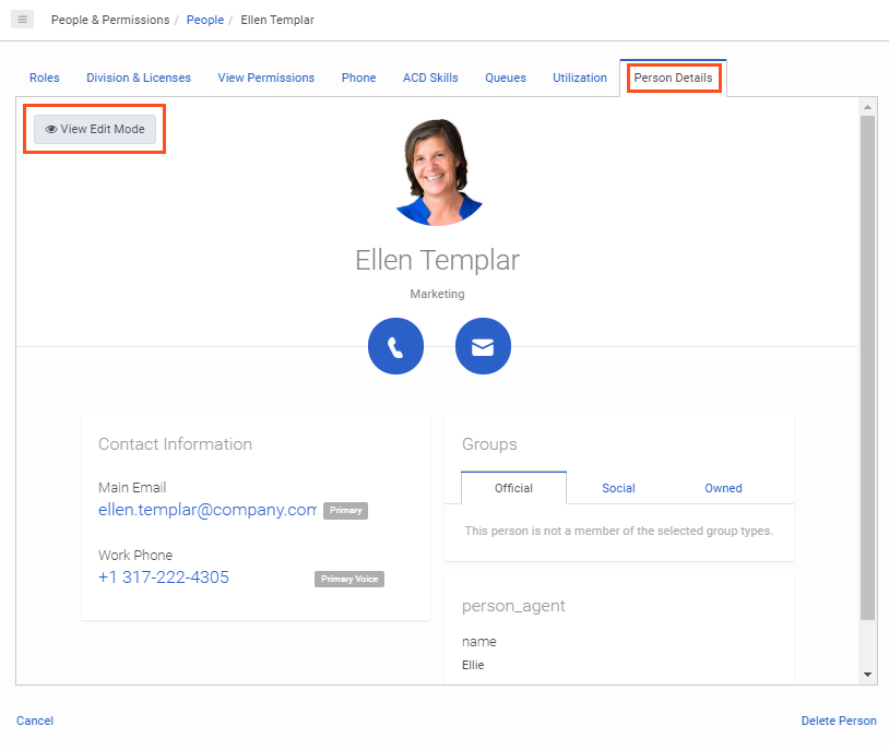 Person Details page