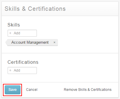 Save Skills and Certifications section