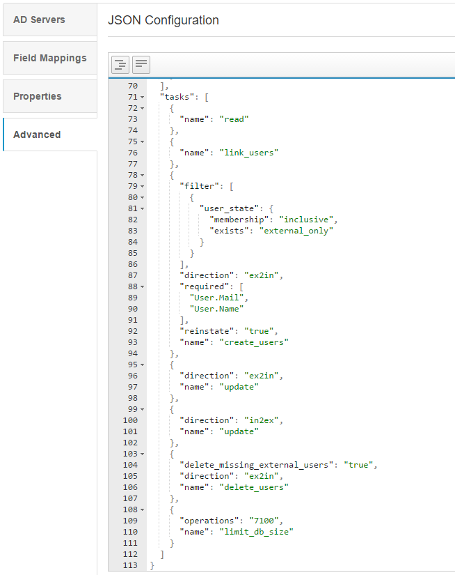Ejemplo de tareas JSON