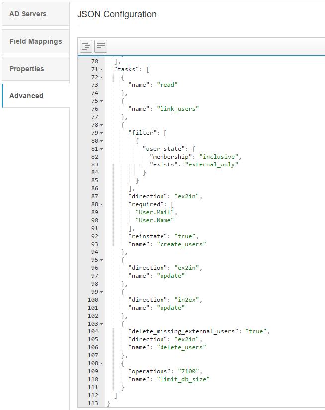 JSON tasks example