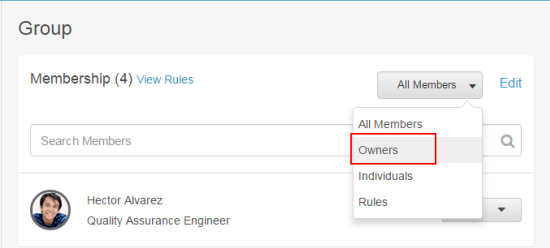 Filter members for owners