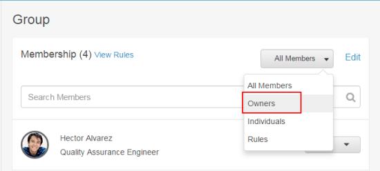 所有者のためのメンバーをフィルター処理します。