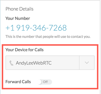 Phone Details panel with Your Device for Calls in a red box