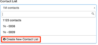 Figure shows how to create a new contact list while editing a campaign configuration