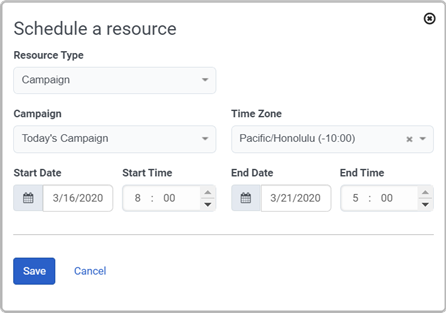 schedule entry configuration popover
