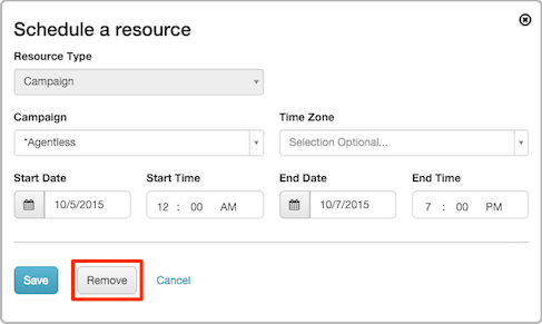 Figure shows button for deleting a schedule entry.