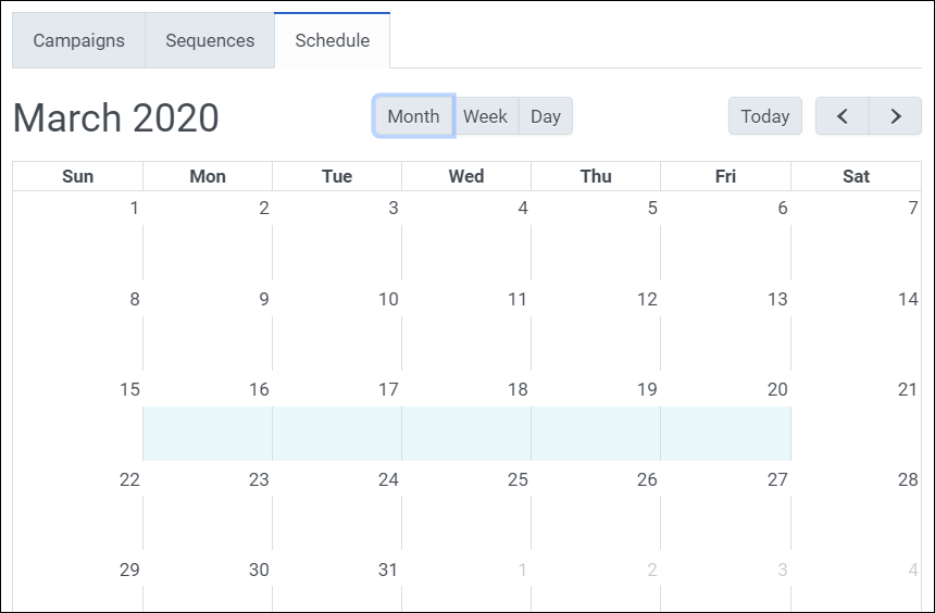 Figure shows a schedule entry created by clicking and dragging.