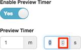 番組切り替えまたはプレビュー連絡先を自動的にダイヤル タイマーを無効にするを有効にするに使用するコントロール