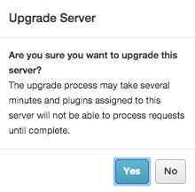 Screenshot of Upgrade Server message