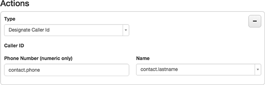 Figure shows how to use contact columns to set caller id name and number