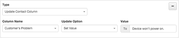 Figure shows how to set the value of a contact column to static text