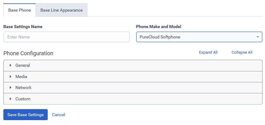 PureCloud Softphone Base Settings save