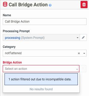 Architect での Bridge アクション エラーメッセージのスクリーンショット