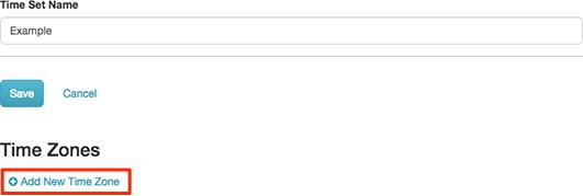 図は、[新しいタイムゾーンを追加] リンクを表示しています