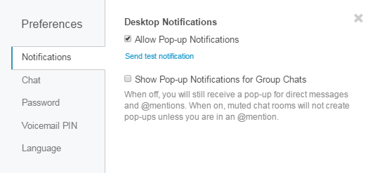 Preferences Notifications Tab