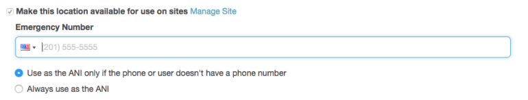 Use location for sites check box