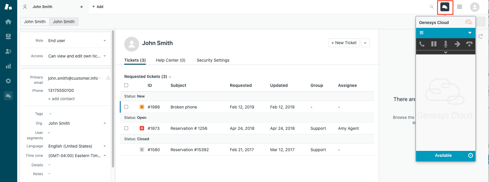 Client access in Zendesk