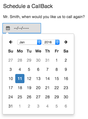 Schedule a callback calendar