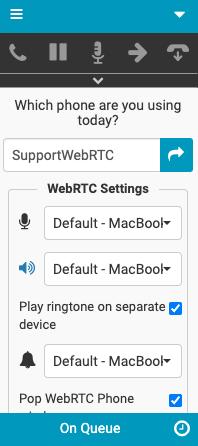 WebRTC Settings window