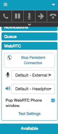 WebRTC 電話設定の変更のための歯車を示すウィンドウ