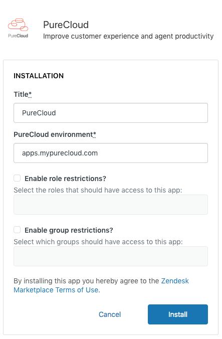 Install PureCloud for Zendesk - PureCloud Resource Center
