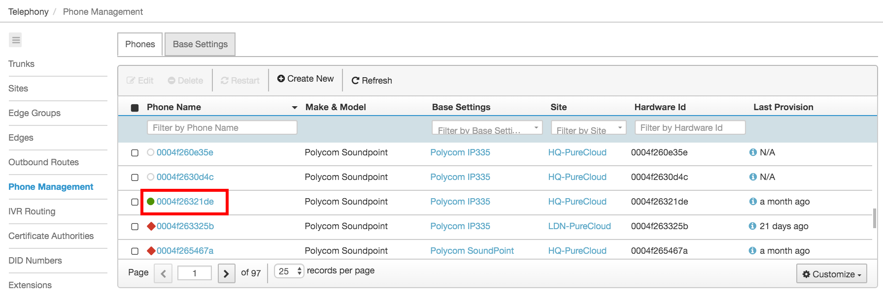 Manually configure the provisioning information for the Polycom