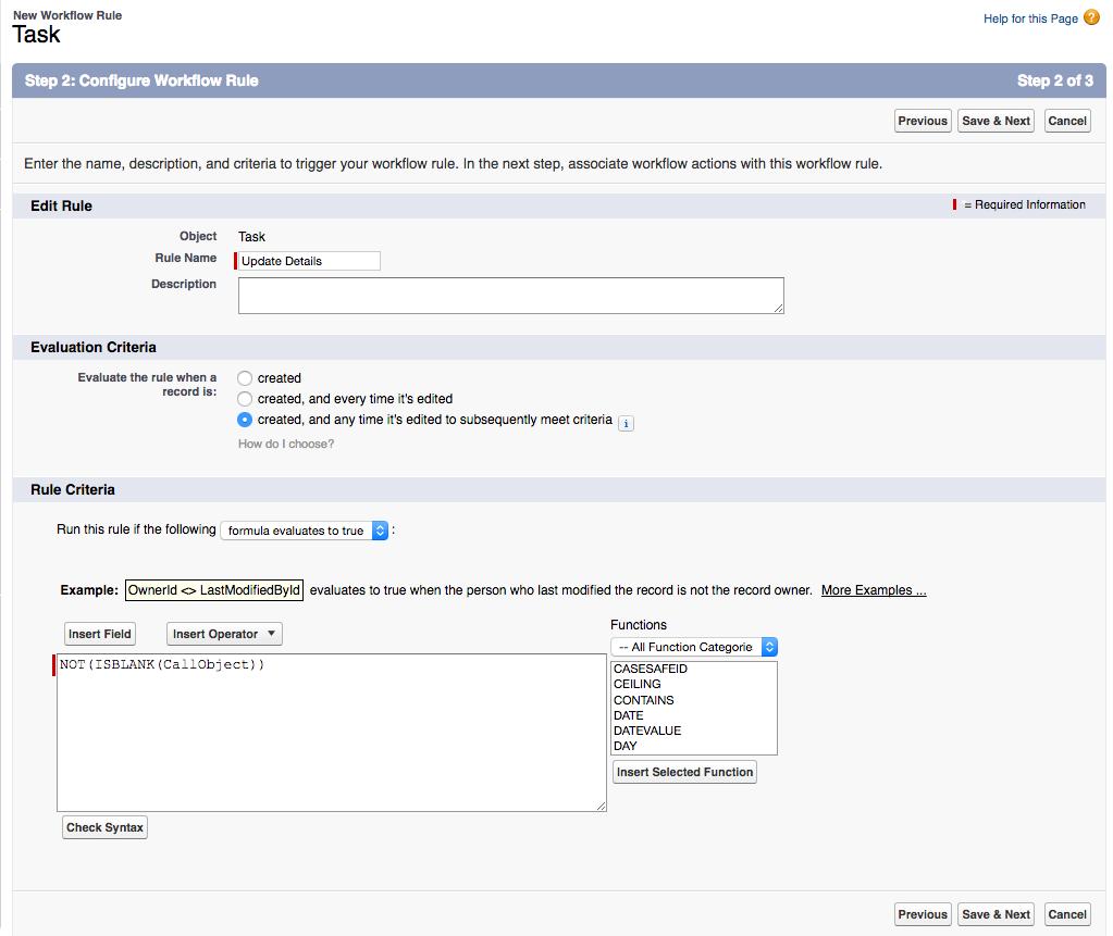 Salesforce でワークフロー ルールを設定