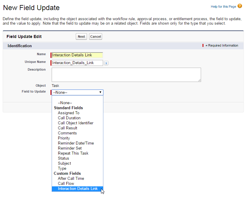 New Field Update in Salesforce