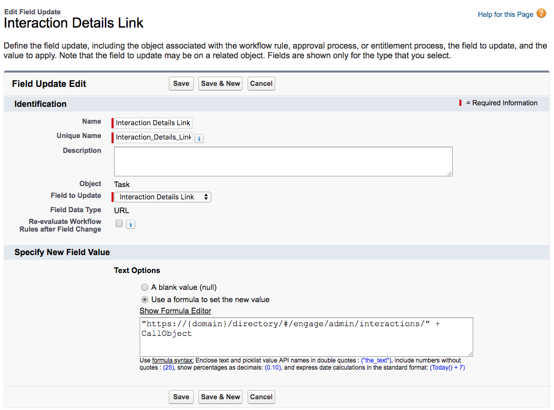 Interaction Details Link in Salesforce