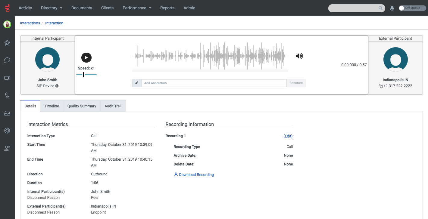 Recording in PureCloud