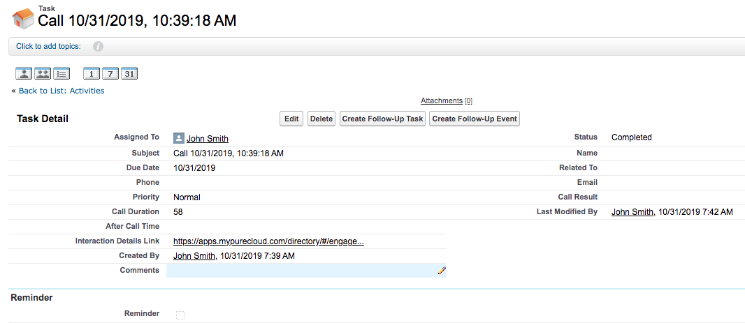Recording link in Salesforce