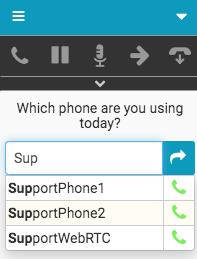 Phone selection window