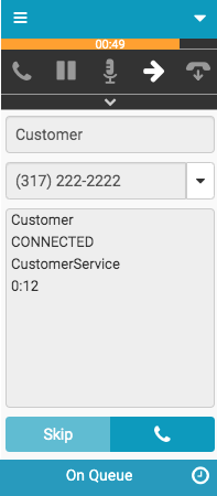 Window with outbound dialing numbers