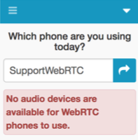 Error message indicating that no audio devices available