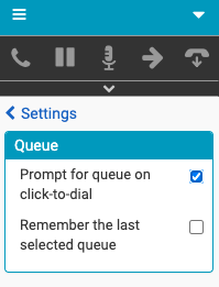 Queue Settings window for click-to-dial