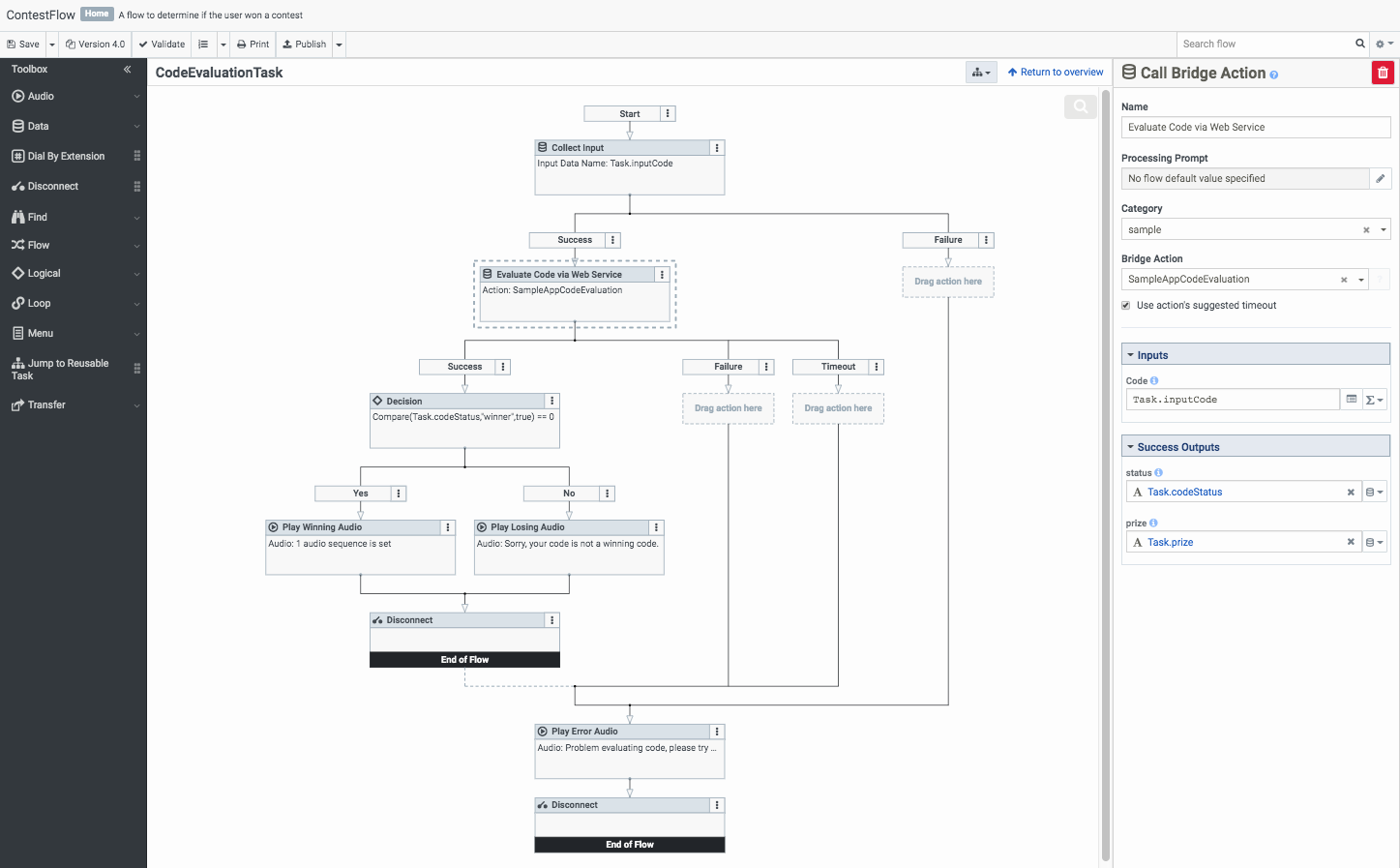 Example call flow for the web services data dip connector
