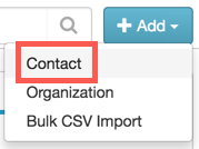 This image shows the + Add > Contact step.