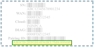 Figure shows sticker containing Edge Pairing ID number and other information.