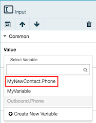 Figure shows variables contained by MyNewContact object variable.