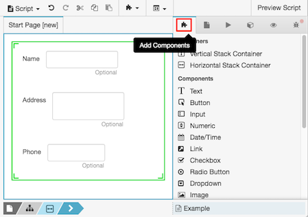 Figure shows the Add Components tab