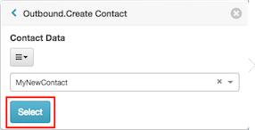 Figure shows new variable in the Outbound Create Contact popover.
