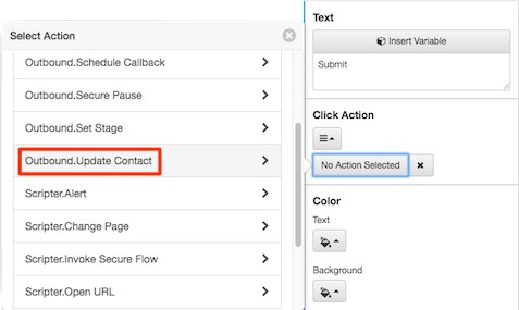 Figure shows button used to select the update contact action.